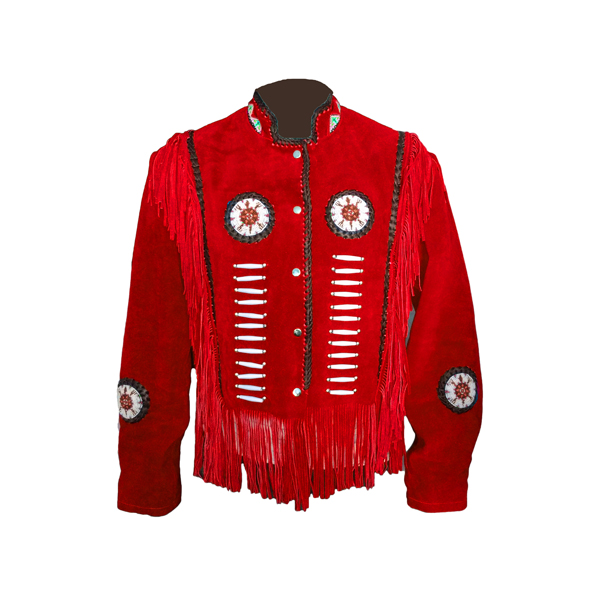 Western Wear Red Scully Simple Suede Jacket Fringe Bone Bead
