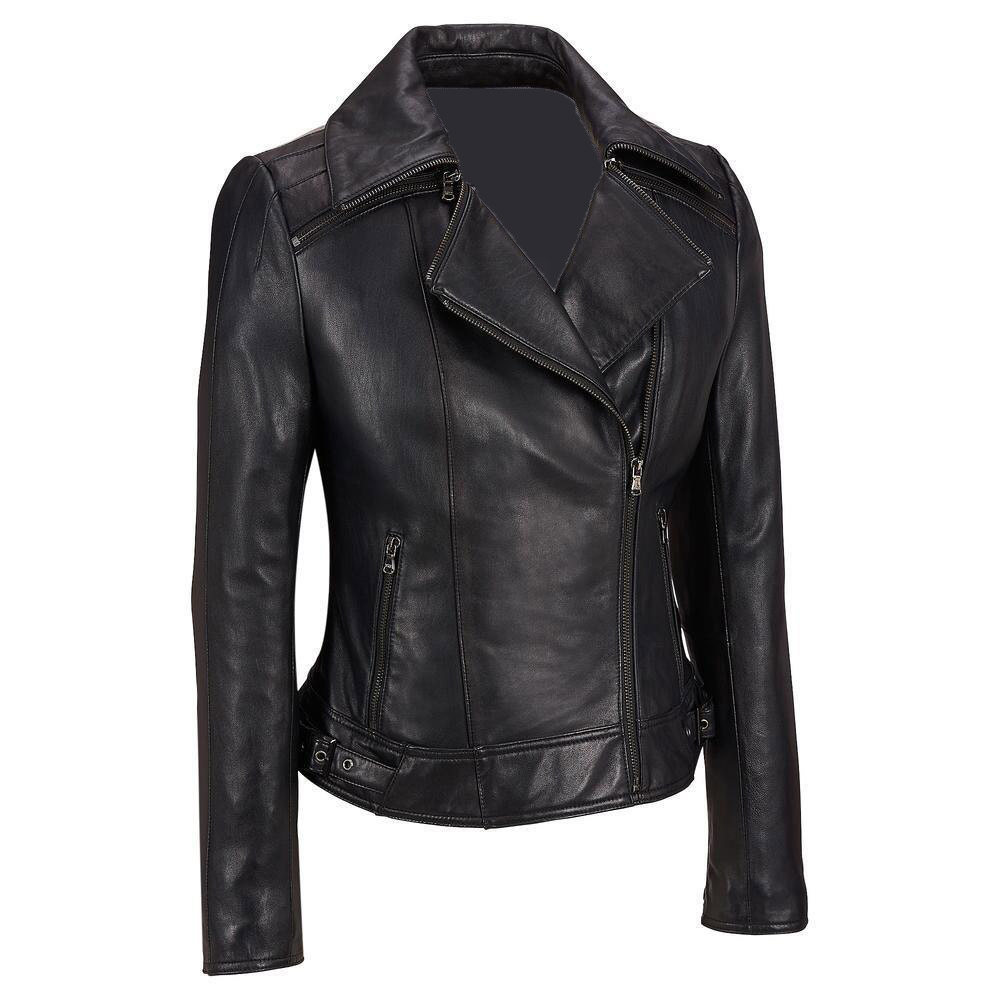 New Women's Leather Collar Leather Fashion Biker Jacket