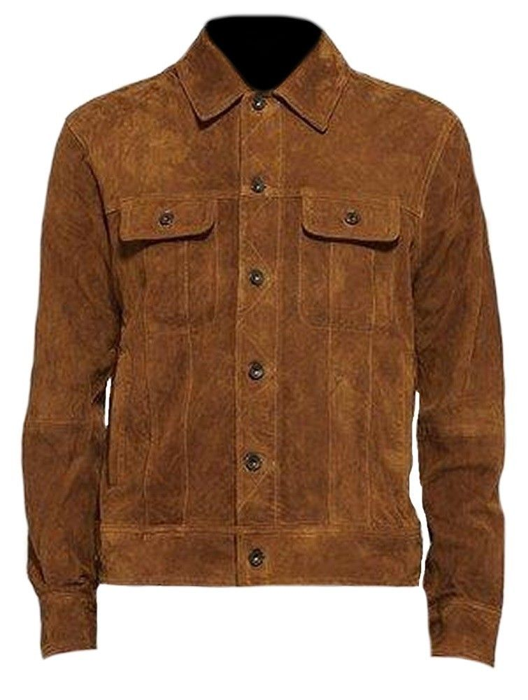 Men's New Brown Suede Leather Jacket, Suede Fashion Leather Jacket