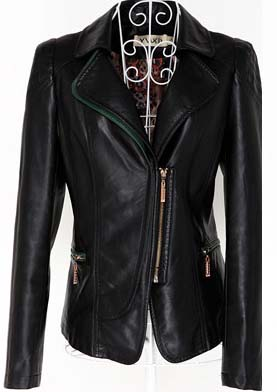 New Handmade Women Black Leather Jacket front pockets, women Black Leather Jacket