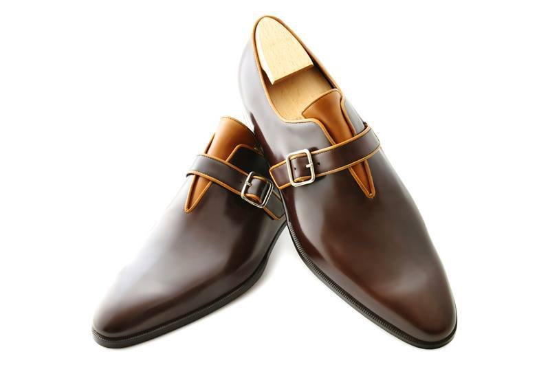 New Handmade Mens brown leather monk shoes, Mens formal shoes, Men dress shoes