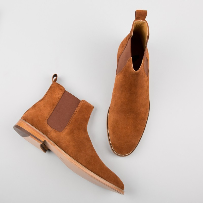 Handmade Men Tan Boots Suede Leather Boot For Men Men Chelsea
