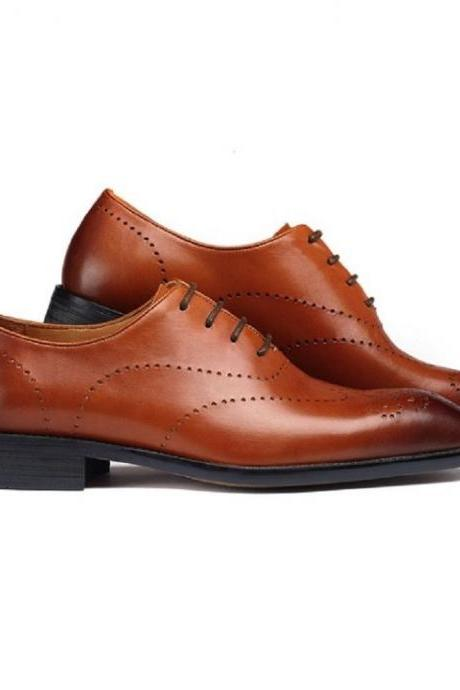 Handmade Two Color New Fashion Leather Mens Lace Up Tuxido Formal Dress Oxford Shoes