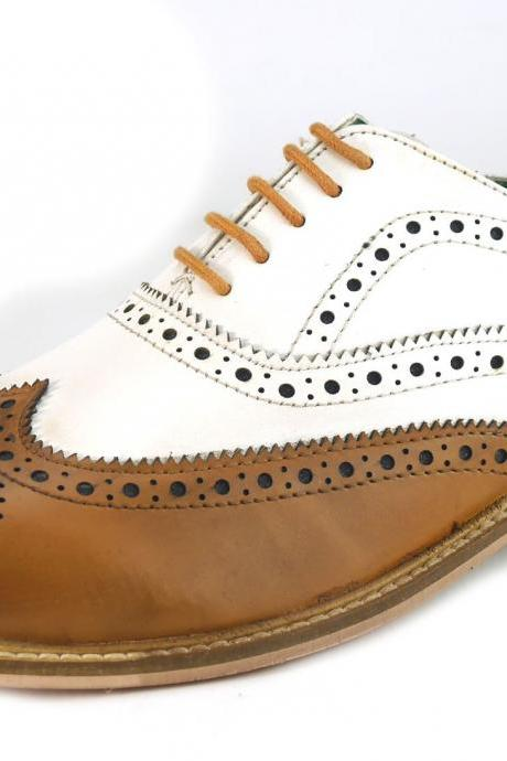 New Handmade Men Leather Lace Up Wingtip Formal Dress Suiting Evening Brogue Shoes
