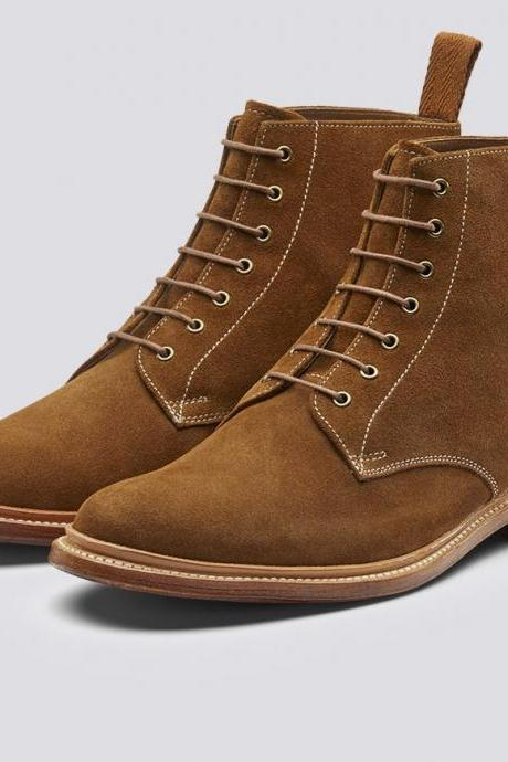 New Handmade Suede Derby Boots Leather Sole Casual Boots Jeans Boots Ankle Boots Men's