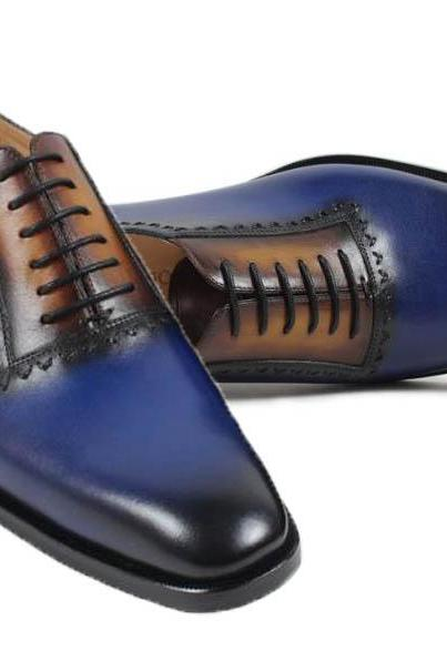 New Men Handmade Navy Two tone Wingtip Brogue Formal Shoes Tuxedo Dress Shoes
