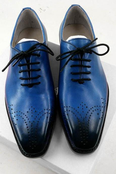 New Handmade Goodyear Welted Shoes Formal Blue Tuxedo Shoes Vintage Male Brogue Oxfords Shoes