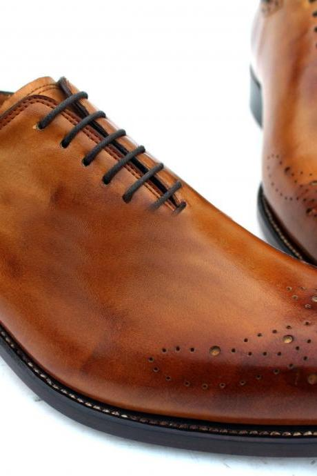 Oxfords Men Dress Leather Shoes, Handmade Brogue Tan Brown Shoes