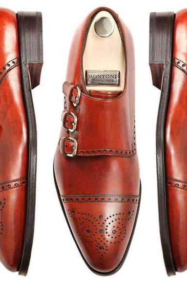 Handmade Men Triple Monk Strap Formal Dress Shoes with Brogue Details