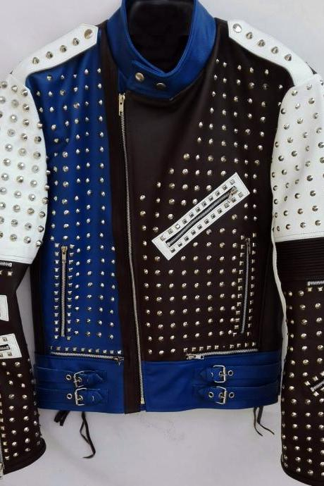Made To Order MEN'S Blue Black Studded Biker Leather Coat Jacket