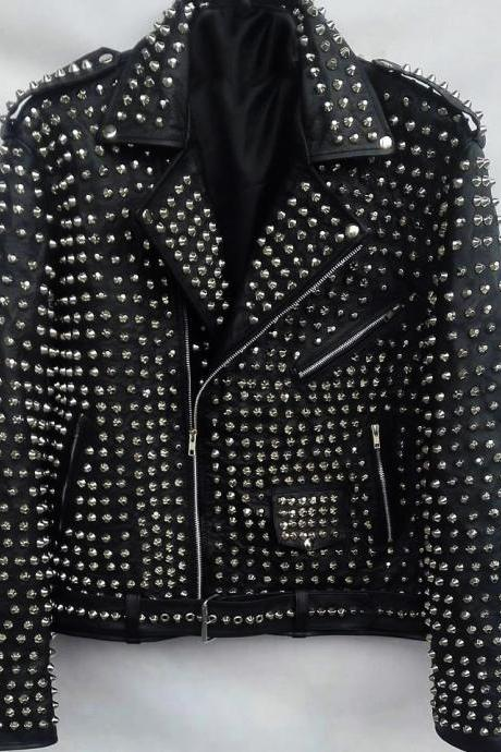 HANDMADE FULL BLACK STUDDED BIKER LEATHER COAT JACKET FOR MEN