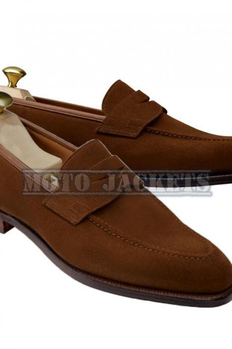 Handmade Men Brown Suede Leather Moccasin Casual Slip On Shoes Wedding Shoes