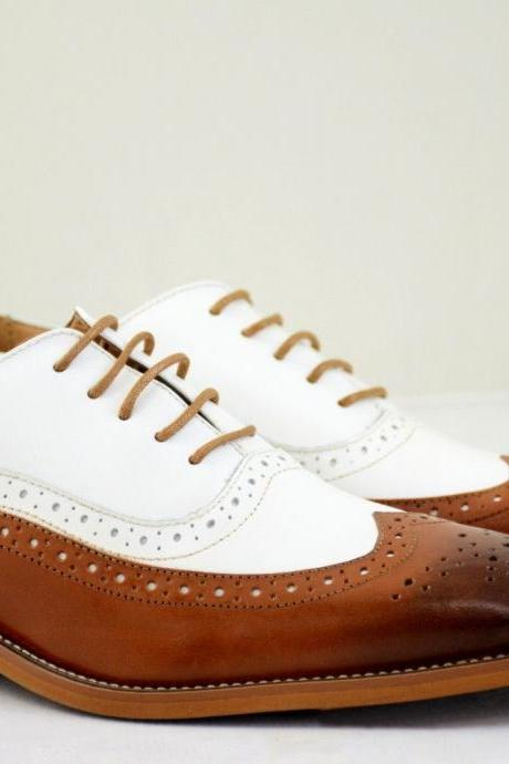 Handmade Dress Shoes Leather, Tan White 2Tone Wing Tip Oxford Shoes Formal Shoes