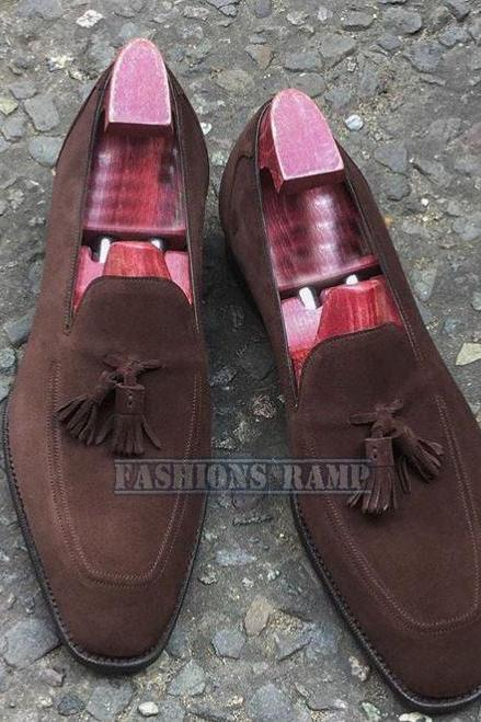 Handmade Machination Suede Shoes, Slippers Formal Wedding Party Leather Shoes