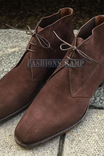 Chukka Suede Leather Boots, Men Handmade Suede Formal Denim Boots
