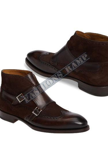 Handmade Mens Double Monk strap Brown Leather Suede Boot, Men Formal Leather Boots