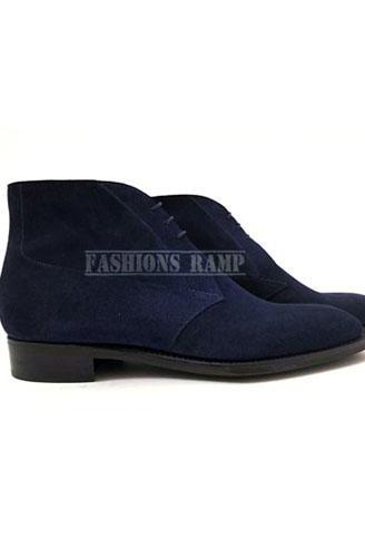 Handmade Men's Navy Blue Suede Chukka Boots, Men Leather Suede Blue Formal Boots