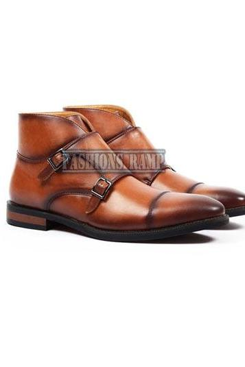Handmade Men's Ankle High Monk Boots Men Leather Denim Formal Boots