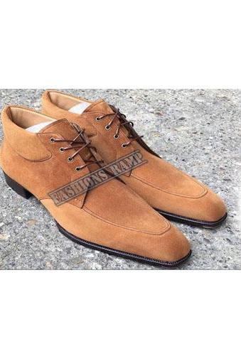Ankle High Tan Suede Leather Boots Formal Denim Lace up Boots Men