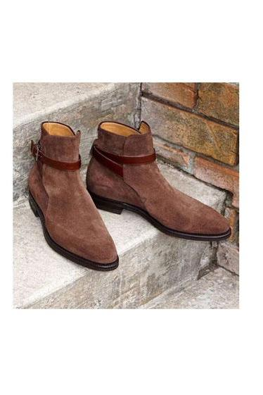 New Handmade Men's brown color Suede jodhpurs boots, Men suede ankle boots