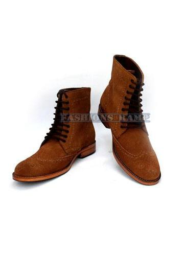 Men Brown Brogue Ankle High Leather Boot Men Leather Boot
