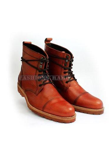 Men Brown Ankle High Leather Boot Men Leather