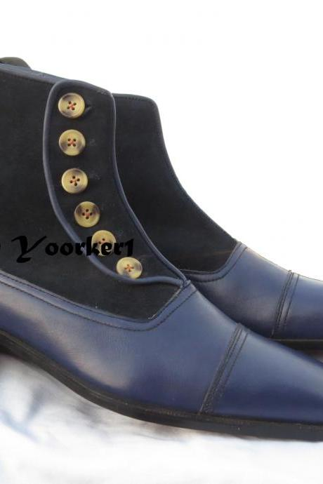 Men Navy Blue Button Top Boots, Dress Formal Casual Fashion Boots