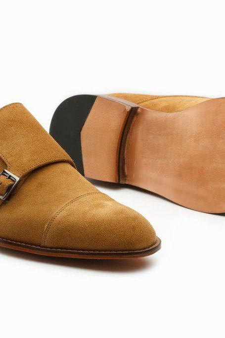 Handmade Tan Suede Derby Double Monk Shoes, Buckle Strap Casual Leather Shoes