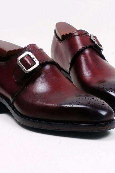 New Handmade Men Burgundy Single Monk Strips Genuine Leather Dress Shoes