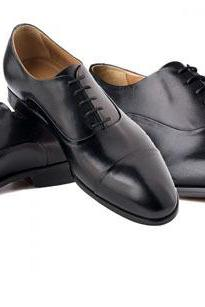 Handmade Men Oxford Cap Toe Dress Shoes, Black Leather Dress Formal Tuxedo Shoes