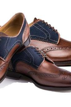 New Handmade Men Wingtip Brogue Shoes, Wing tip Blue Brown Dress Formal shoes