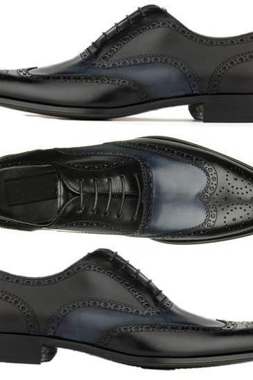 Handmade Men's Two Tone Dress Formal shoes Men Navy Black Tuxedo Leather shoes