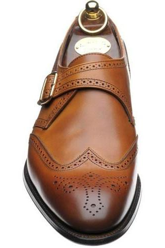 New Handmade Single Monk Strap Shoes Men Brogue Shoes Wingtip Leather Shoes