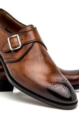 Handmade Monk Strap Shoes, Men Leather Trendy Formal Broges Shoes