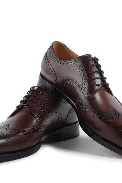 New Handmade Men's Coffee Brown Shoes, Wingtip Lace up Leather Shoes