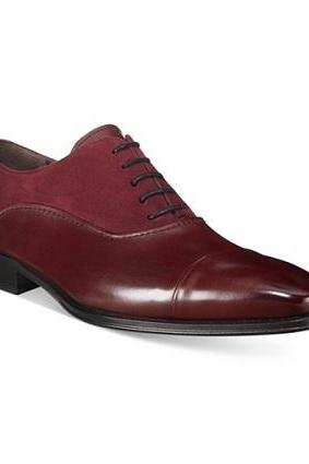New Handmade Men Oxford Burgundy Dress Formal Leather Shoes