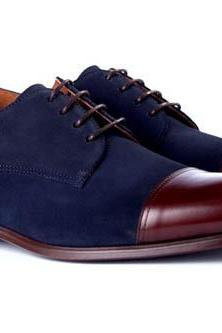 New Handmade Men Suede Leather Two Tone Shoes, Navy Brown Shoes Men