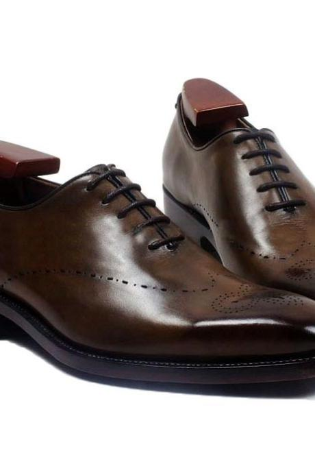 Men Wingtip Oxford Shoes, Genuine Leather Dress Formal Shoes
