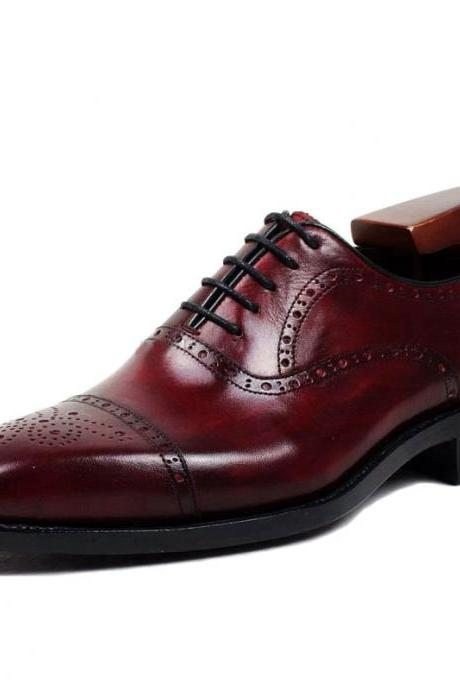 Handmade Genuine Calf Leather Men's Dress Oxford Shoes Office