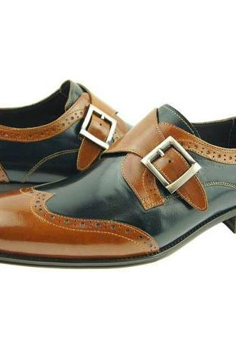 Men Wingtip Monk Strap, Men's Spectator Dress Leather Shoes