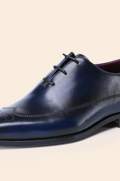Men Wingtip Brogue Navy Blue Leather Dress Formal Shoes