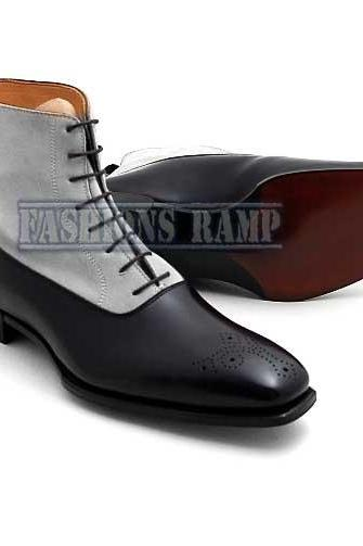 Ankle Leather Boots Men Two Tone Boots Men Black & Light Gray Boot
