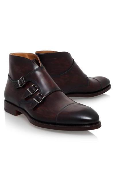 Handmade Triple Monk Ankle High Boots For Men, Men Formal Boots
