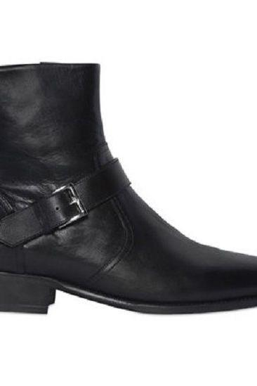 HANDMADE MEN BLACK LEATHER BOOT SIDE ZIPPER MONK BOOTS