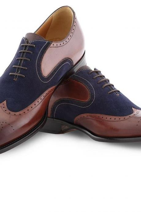Handmade Oxford Men Formal Two Tone Wing Tip Dress Suede Leather Shoes