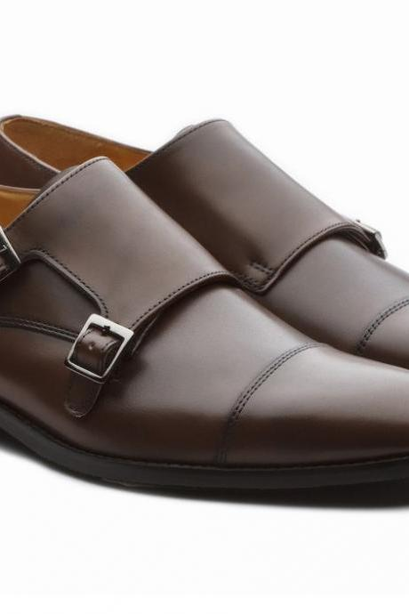 Handmade Brown Double Monk Shoes, Leather Dress Formal Shoes Men