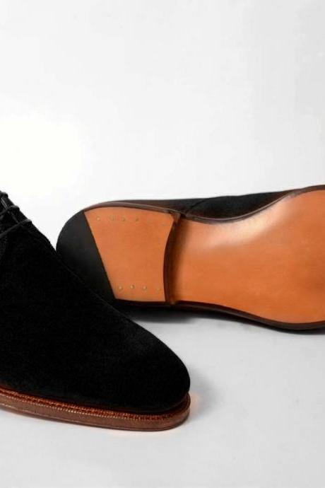 Handmade Derby Lace up Formal Dress Suede Leather Shoes Men