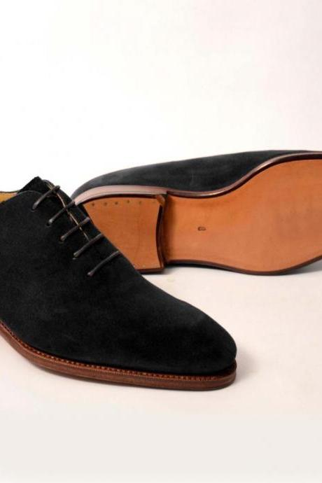 Hand stitched Suede Leather Black Whole cut Oxford Dress Formal Shoes Men