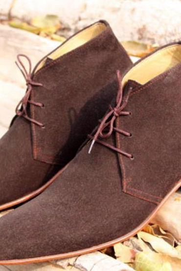 Handmade Men Chukka Stylish Designer Lace Up Formal Casual Dress Suede Leather Boots