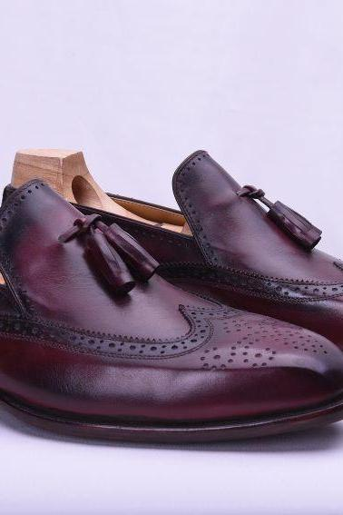 Handmade Tussle Burgundy Slippers Office Dress Wedding Leather Shoes Men's
